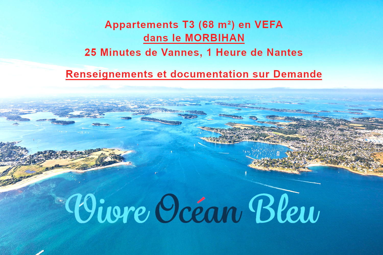 Appartements T3, 2 chambres, une salle de bains dans le Morbihan, 25 minutes de Vannes