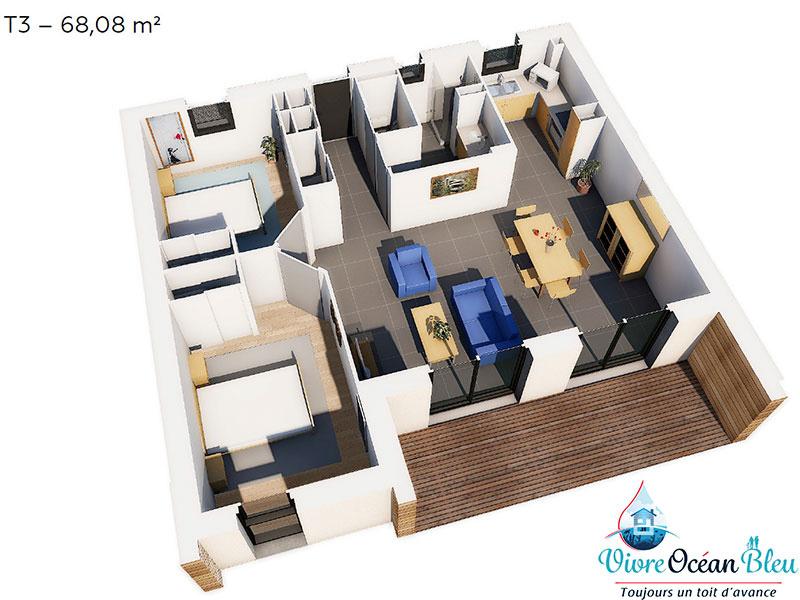 Appartement Type T3, 68 m², 2 chambres, une salle de bain, Morbihan, Questembert, vue 3D