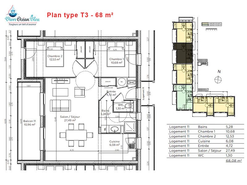 Appartement Type T3, 68 m², 2 chambres, une salle de bain, Morbihan, Questembert.