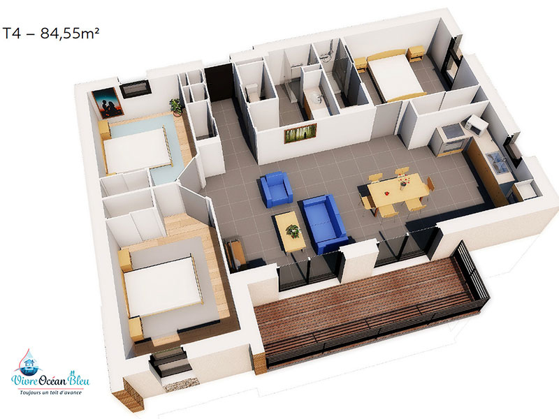 Appartement T4, 84,5 m², 3 chambres, 2 salles de bains en vue 3D dans le Morbihan.