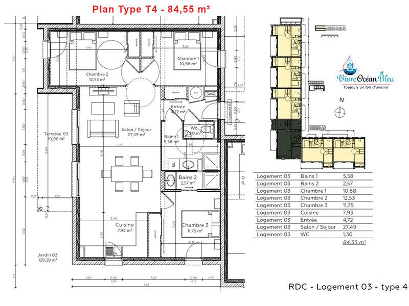 Appartement T4, 84,5 m², 3 chambres, 2 salles de bains, dans le Morbihan, plan de l'appartement.